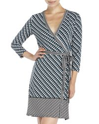 Max Studio | Black Printed Jersey Wrap Dress | Lyst