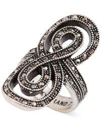 Lucky Brand - Metallic Silver-Tone Pavé Infinity Ring - Lyst