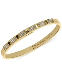 Michael Kors | Metallic Crystal Pavé Turnlock Hinge Bangle Bracelet | Lyst