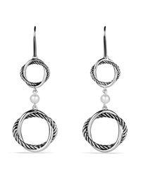 David Yurman   White Infinity Doubledrop Earrings with Pearls   Lyst