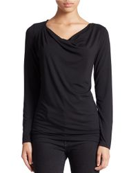 Lord & Taylor | Black Plus Draped Neck Blouse | Lyst