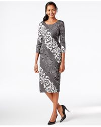 Eci | Gray Scroll-print Midi Dress | Lyst