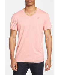 G-Star RAW - Pink 'Mikan' V-Neck T-Shirt for Men - Lyst