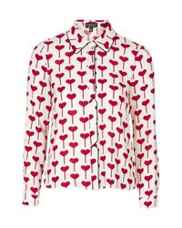 TOPSHOP | Red Heart Print Shirt | Lyst