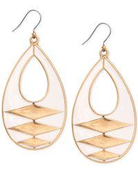 Lucky Brand - Metallic Gold-tone White Enamel Drop Earrings - Lyst