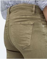 Zara | Green Skinny Trousers With Zipped Hem | Lyst