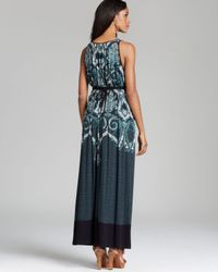 Adrianna Papell   Blue Printed Maxi Dress   Lyst