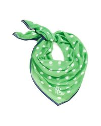 Lauren by Ralph Lauren | Green Dot Print Square Scarf | Lyst