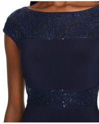 Lauren by Ralph Lauren - Blue Sequined Lace Cap-Sleeve Dress - Lyst
