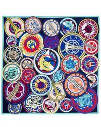 KENZO | Multicolor Multicolour Logo Motif Silk Scarf | Lyst