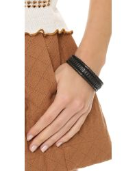 Pluma | Black Small Woven Leather Bangle Bracelet | Lyst