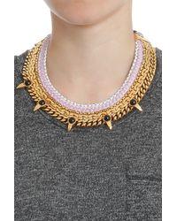 Lizzie Fortunato - Pink Chain Bib Necklace W Spike - Lyst