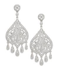 Adriana Orsini - Metallic Filigree Chandelier Earrings/silver - Lyst