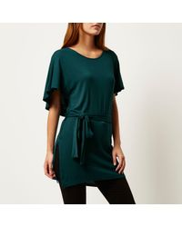 River Island - Dark Green Belted Cape Back T-shirt - Lyst