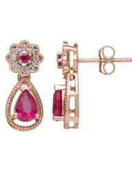 Lord & Taylor | Red Diamond And Ruby 14k Rose Gold Drop Earrings | Lyst