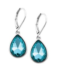 Nine West | Silvertone Blue Stone Teardrop Earrings | Lyst
