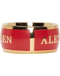 Alexander McQueen | Red And Gold Enamel Ring | Lyst