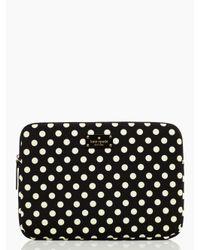 "Kate Spade | Black Classic Nylon Mini Pavillion Dot Laptop Zip Sleeve With Back Pocket 13"" | Lyst"