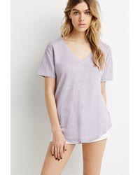 Forever 21 - Purple Linen V-neck Tee - Lyst