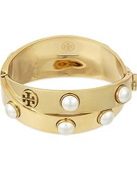 Tory Burch | Metallic Pearl Metal Wrap Bracelet | Lyst