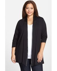 Lyssé | Black 'canyon Drape' Faux Leather Trim Wrap Cardigan | Lyst