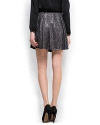 Mango | Black Glitter Pleated Skirt | Lyst