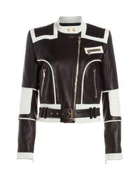 Balmain - Black Bi-Color Leather Jacket - Lyst