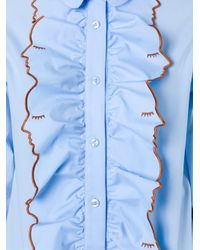 Vivetta - Blue Embroidered Ruffle Shirt - Lyst