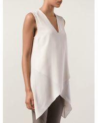 Brunello Cucinelli - White Asymmetric Satin And Silk Tank - Lyst
