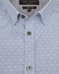 Ted Baker - Blue Debonair Striped Dobby Shirt for Men - Lyst