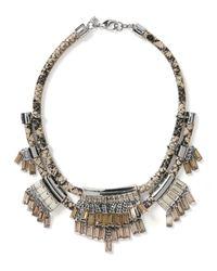 Banana Republic | Metallic Leather Fringe Necklace | Lyst