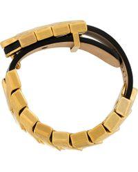 Alexander McQueen - Metallic Black Leather Gold Link Bracelet - Lyst