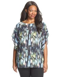 Sejour - Multicolor Sheer Flutter Sleeve Blouse - Lyst