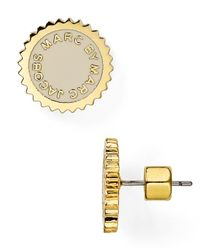 Marc By Marc Jacobs | Metallic Saw Tooth Enamel Disc Stud Earrings | Lyst