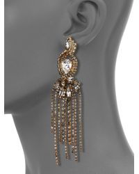 Erickson Beamon | Metallic Young & Innocent Crystal Crossover Fringe Drop Earrings | Lyst