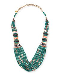 Devon Leigh | Green Turquoise & Coral Long Beaded Necklace | Lyst