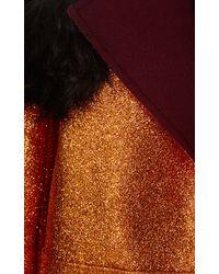 Rodarte - Orange Glitter Coat with Shearling Trim - Lyst