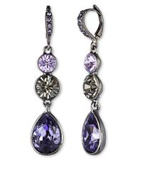 Givenchy | Purple Hematitetone Triple Crystal Drop Earrings | Lyst