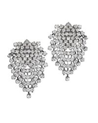 Kenneth Jay Lane | Metallic Gunmetal And Crystal Clip Earring | Lyst