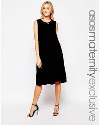 ASOS - Black Maternity Nursing Sleeveless Midi Skater Dress With Double Layer - Lyst
