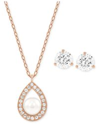 Swarovski | Pink Rose Gold-tone Crystal Pearl Pendant Necklace And Crystal Stud Earring Set | Lyst