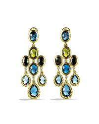 David Yurman - Dy Signature Collection Chandelier Earrings with Hampton Blue Topaz and Diamonds in Gold - Lyst