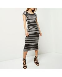 River Island - Black Stripe Maxi Bodycon Dress - Lyst