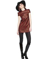 Saint Laurent - Red Leopard Techno Jacquard Dress - Lyst