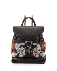 Alexander McQueen - Black Small Embroidered Leather Backpack - Lyst