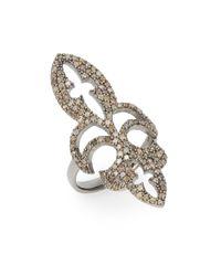 Bavna | Metallic 1.37 Tcw Champagne Diamond & Sterling Silver Fleur-de-lis Ring | Lyst