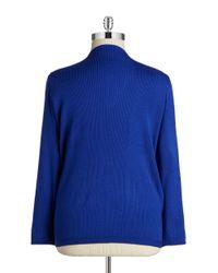 Calvin Klein | Blue Plus Zip-front Knit Cardigan | Lyst