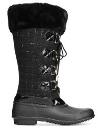 INC International Concepts - Black Lorinah Tweed Boots, Only At Macy's - Lyst