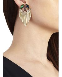 Iosselliani | Metallic Gold Tone Embellished Drop Earrings | Lyst