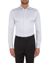 Richard James - Gray Austin Plain Diamond Dobby Shirt for Men - Lyst